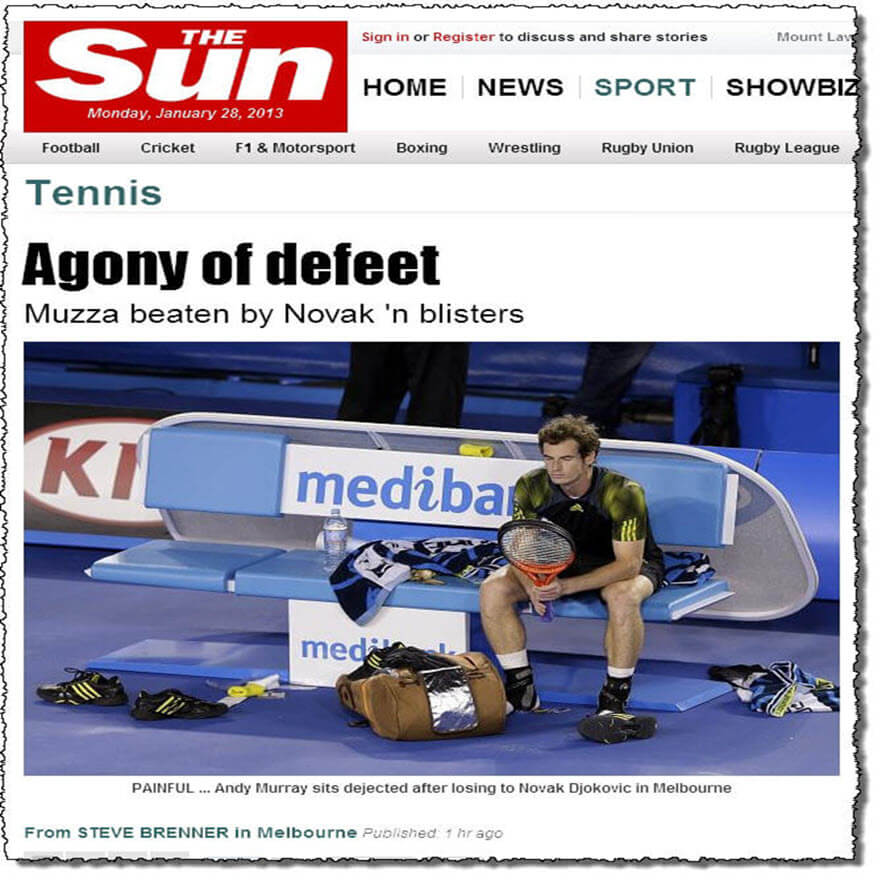 tennis andy murray tennis foot blisters
