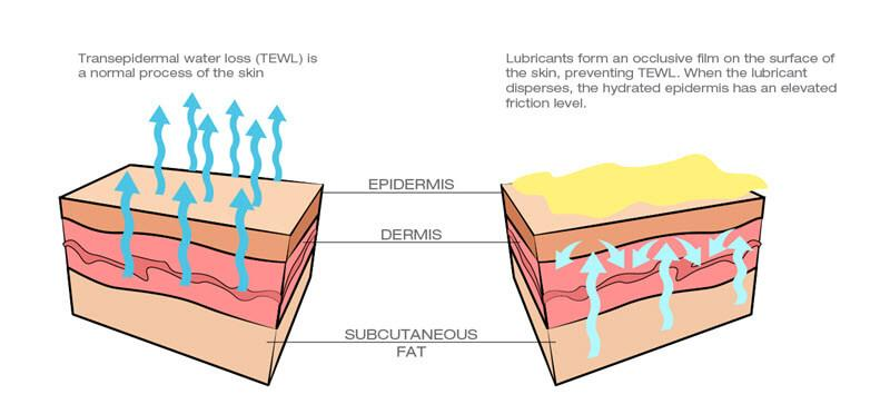 vaseline and greasy lubricants and transepidermal water loss