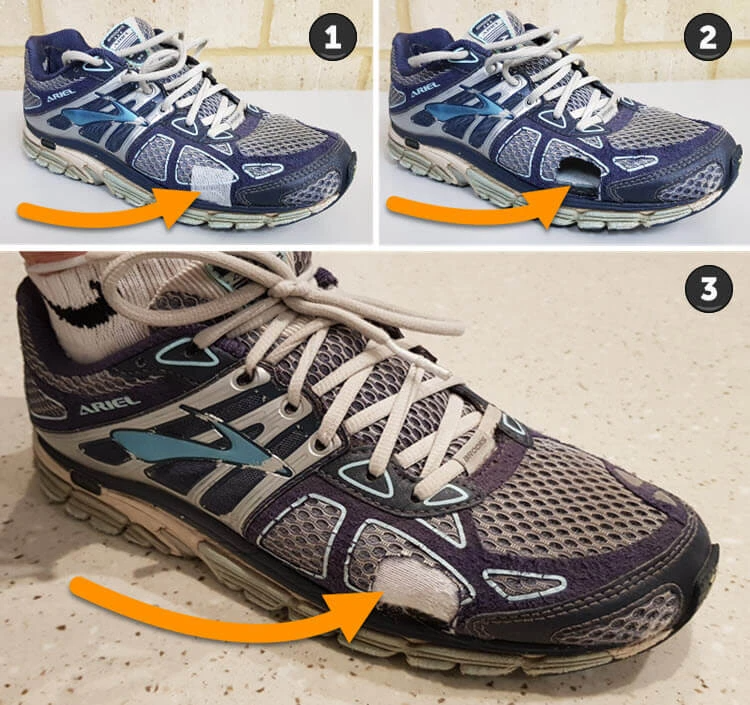 Cutting holes in running shoes - performing shoe cut-aways