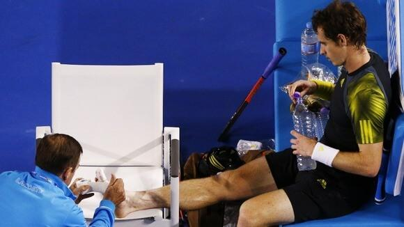 Andy Murray getting blister treatment at the Australian Open tennis tournament