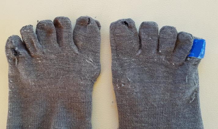 Relieve pinch blisters with toesocks and engo