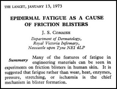 Blister research from Comaish in 1973: shows blisters are caused by shear