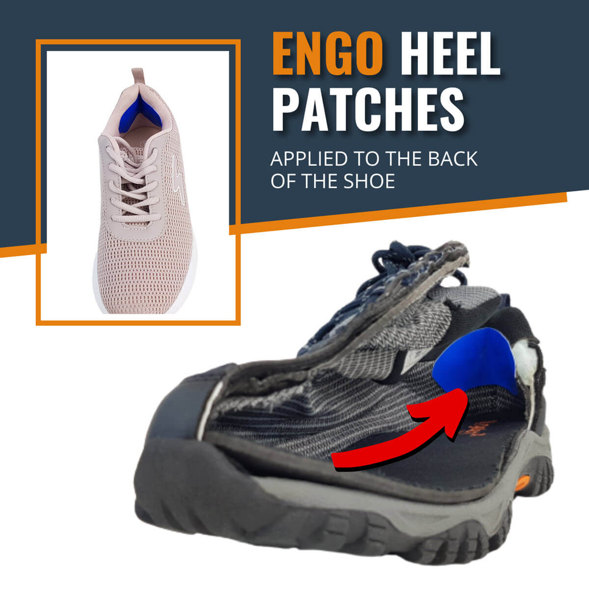 ENGO Blister Patches Heel Pack heel patches applied to the back of the shoe