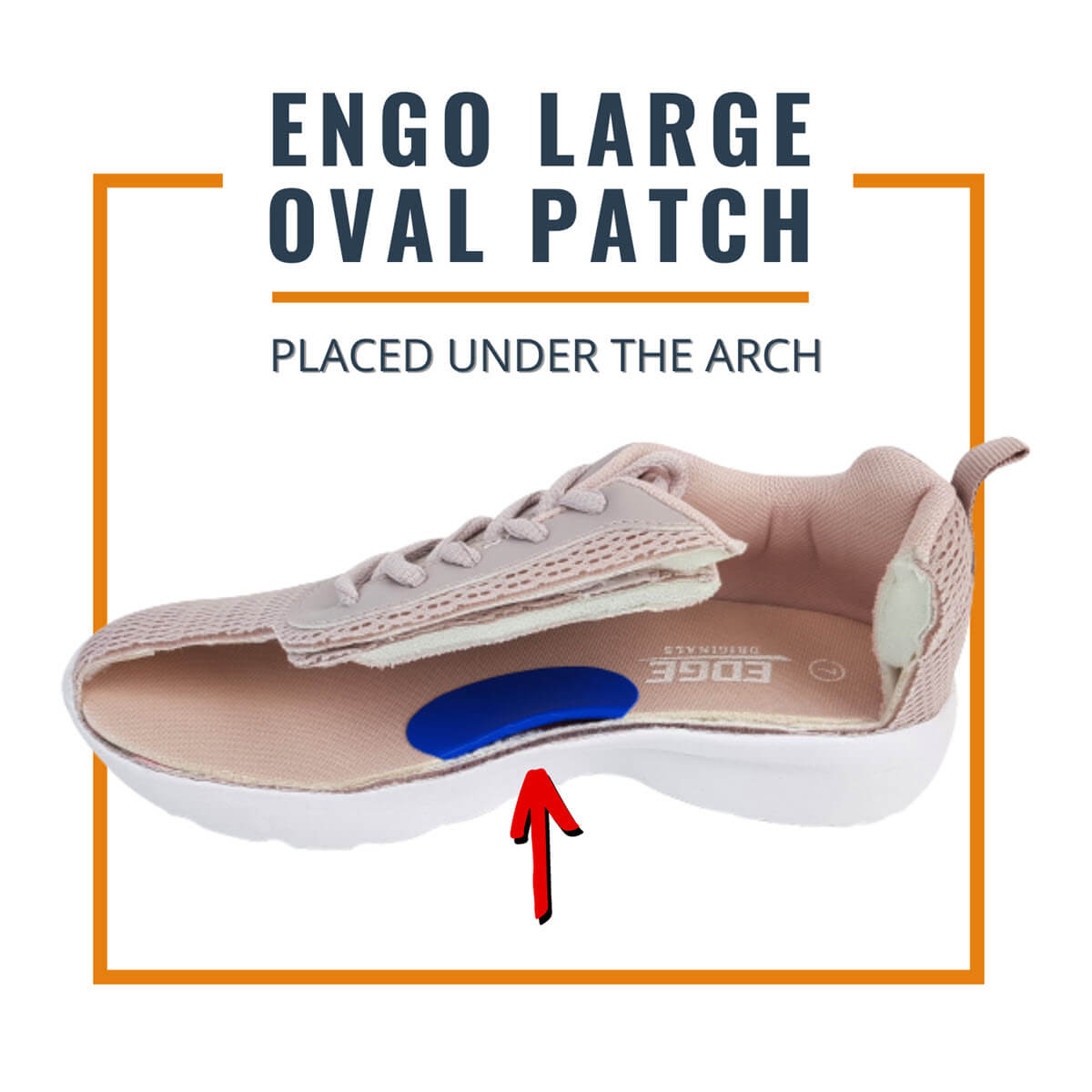 ENGO Blister Patches 4-Pack 6-Pack 30-Pack Large Oval Patch applied under the arch