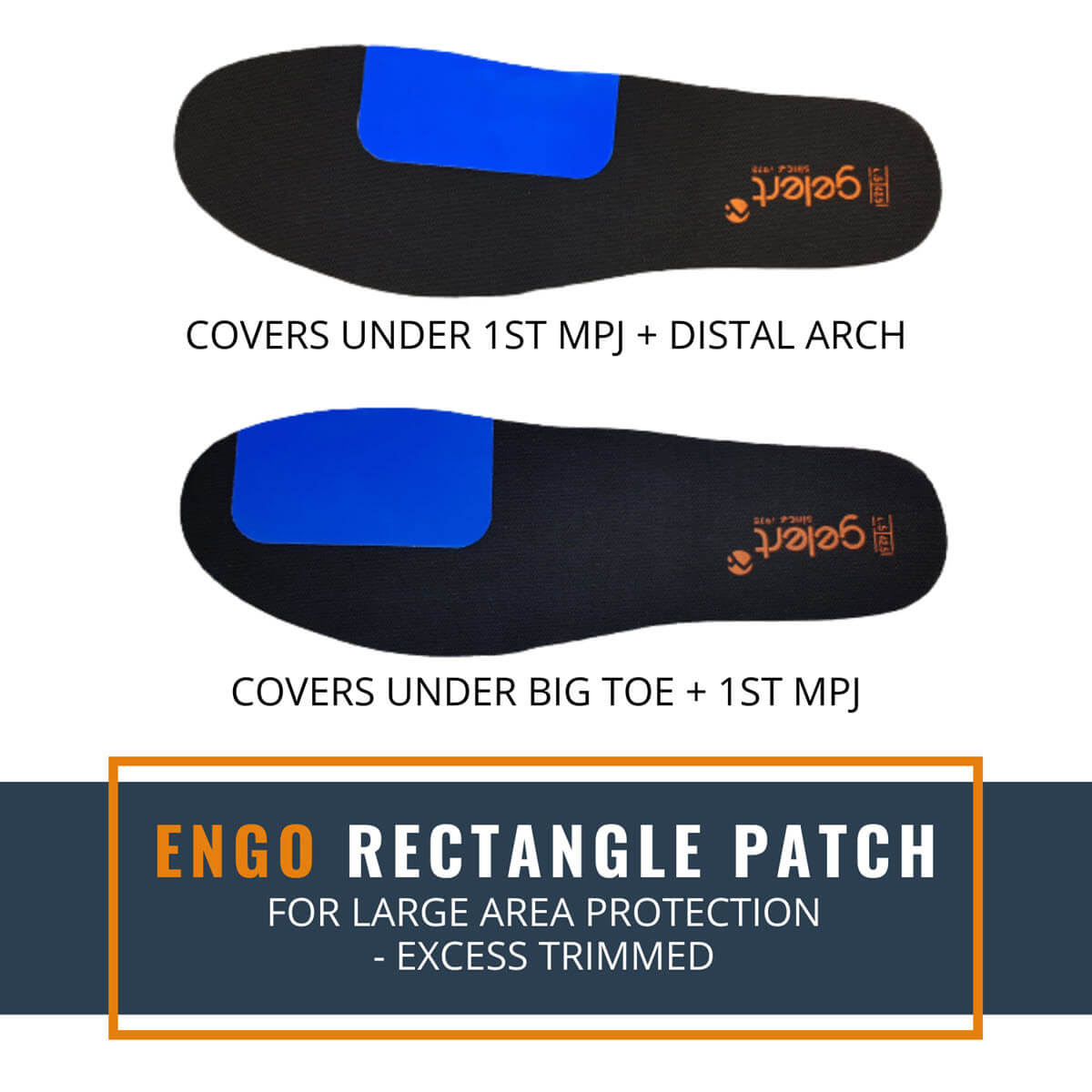 ENGO Blister Patches Rectangle Pack rectangle patch applied to the insole for large area coverage