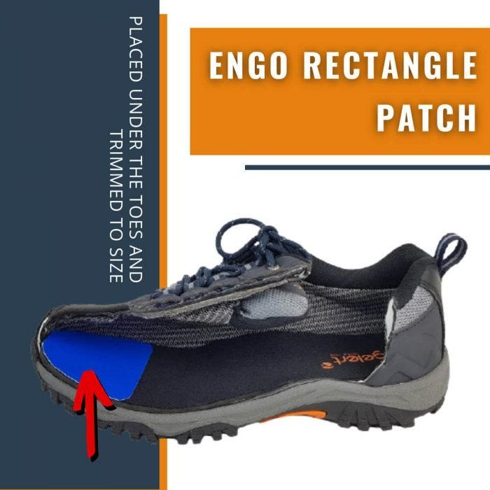 ENGO Blister Patches Rectangle Pack rectangle patch applied under the toes and trimmed to size side on