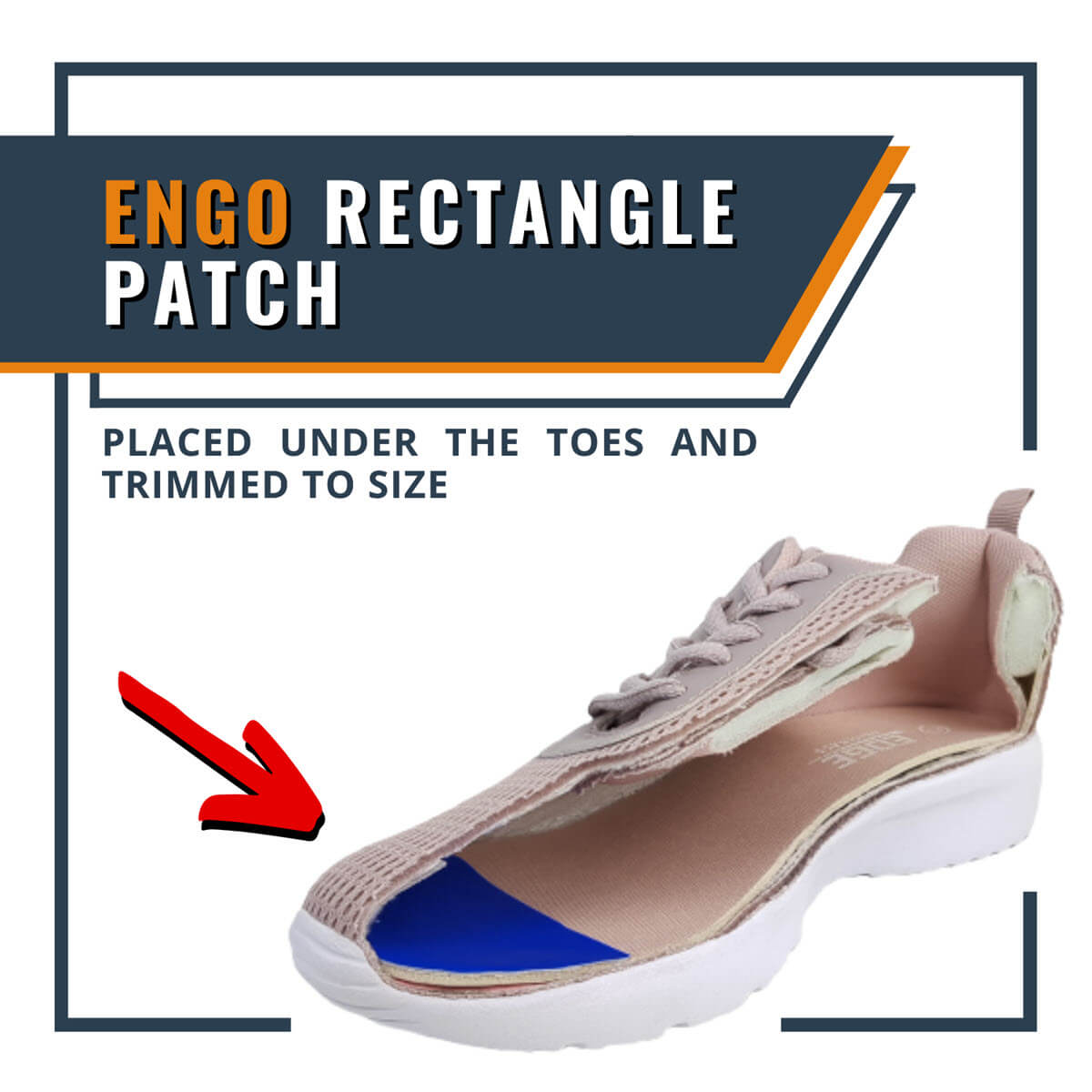 ENGO Blister Patches Rectangle Pack rectangle patch applied under the toes and trimmed to size oblique