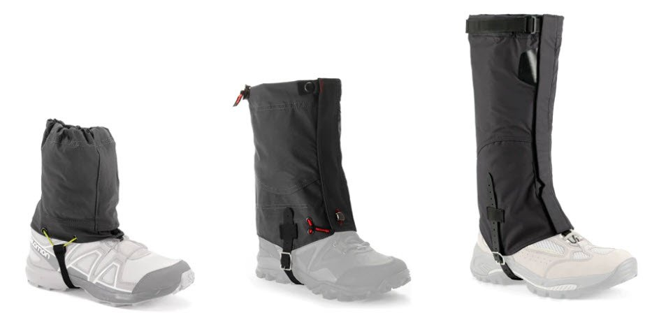 Ankle, mid-calf and below-knee gaiter lengths